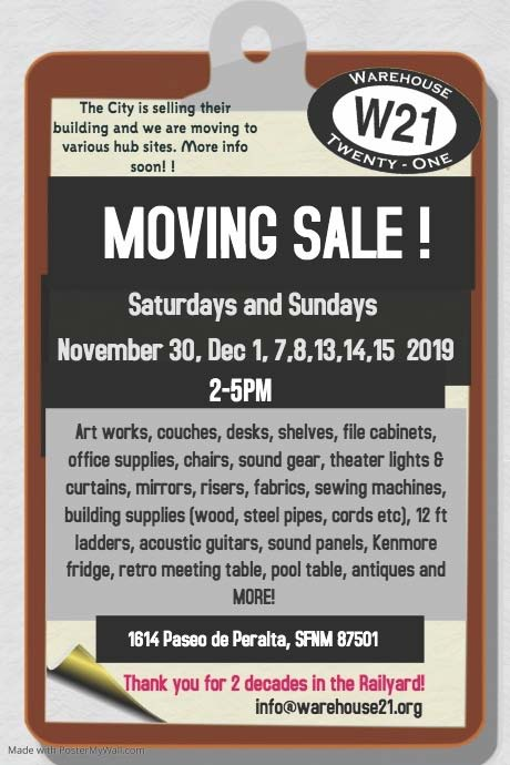 WAREHOUSE 21 MOVING SALE! @ Warehouse 21 | Santa Fe | New Mexico | United States
