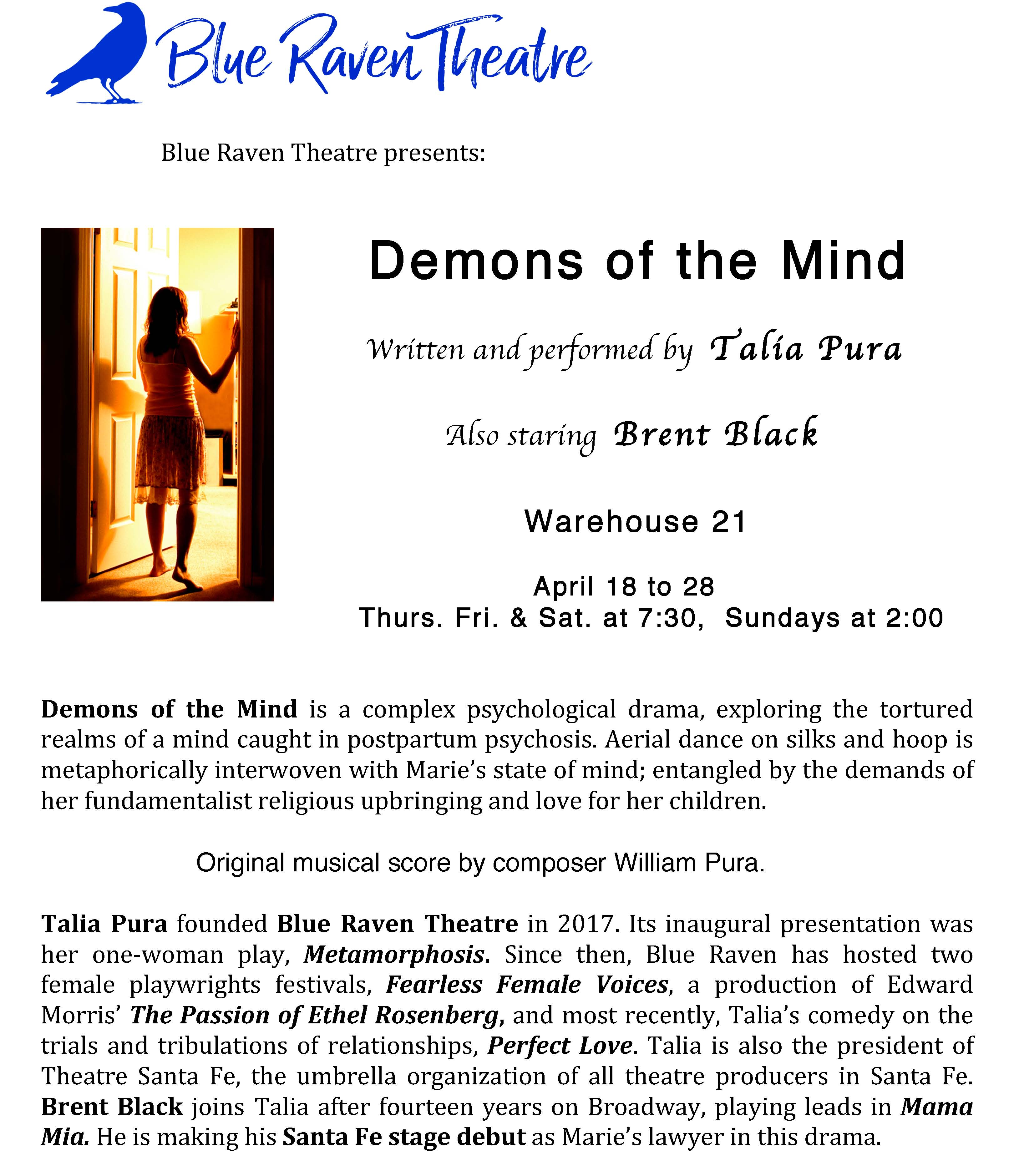 """""""DEMONS"""" BY BLUE RAVEN THEATRE @ Warehouse 21 
