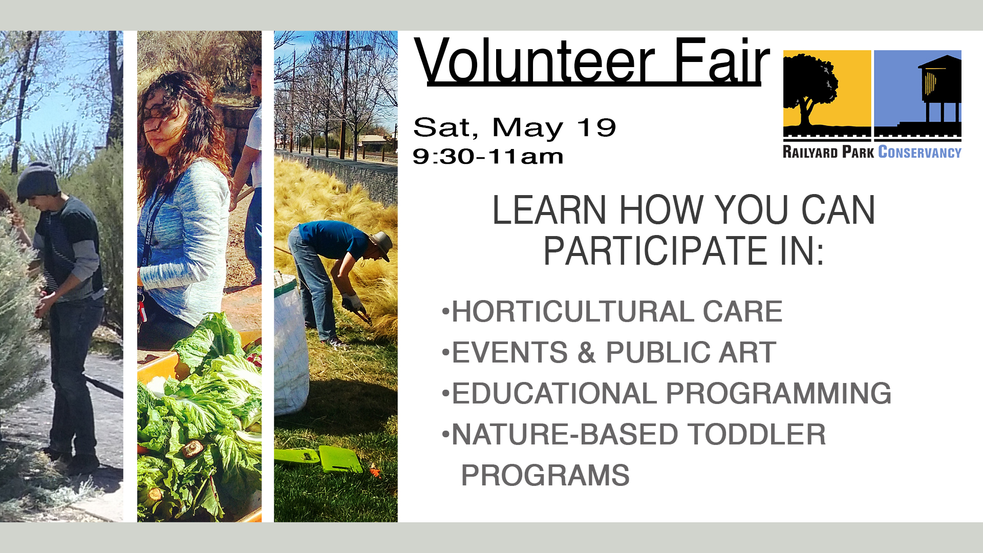RAILYARD PARK VOLUNTEER FAIR @ Railyard Park Community Room | Santa Fe | New Mexico | United States